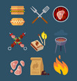 set of flat barbeque icons for web camping vector image vector image