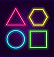 simple geometric shapes neon signs set vector image