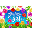 spring sale banner colotful tulips flowers blue vector image vector image