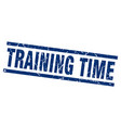 square grunge blue training time stamp vector image vector image