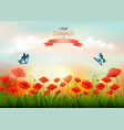 summer nature background with red poppies and a vector image vector image