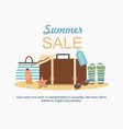 summer suitcase and beach accessories on sand vector image vector image