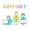support center poster with workers receiving calls vector image vector image