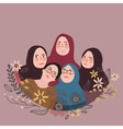 teen friends wearing scarf veil pose together vector image vector image