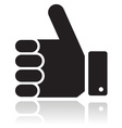 Thumb up black glossy icon vector image vector image