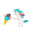 unicorn character and giant ice cream cone vector image