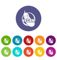 vegan icons set color vector image vector image
