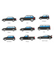 vehicle body types car carcass shape and model vector image