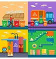 Waste sorting garbage recycling environment flat vector image