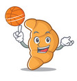 with basketball croissant character cartoon style vector image