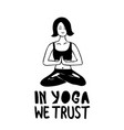 yoga poster in minimalism style vector image vector image