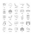 australia icons set line style vector image