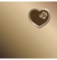 Bronze background with gold heart and gears vector image