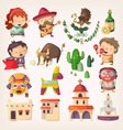 Mexican people architecture and local heroes vector image