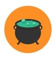 Witch cauldron icon flat vector image