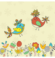 background with flowers and birds vector image