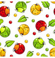 cute seamless pattern with funny bugs and leaves vector image