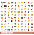100 fete icons set flat style vector image vector image