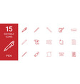 15 pen icons vector image vector image