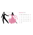 2019 dance calendar september elegant couple vector image vector image
