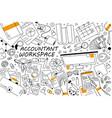 accountant workspace doodle set vector image