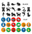 an unrealistic animal flat icons in set collection vector image vector image