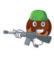 army chocolate donut character cartoon vector image