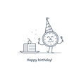 Birthday party slice of cake fun time vector image vector image