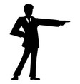 black silhouette man in suit or businessman vector image