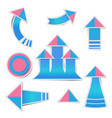 blue paper arrow and pink paper pink stickers vector image vector image