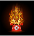 burning red phone with fire flame vector image