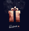 christmas and new year copper low poly gift card vector image vector image