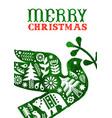 christmas watercolor folk retro peace dove card vector image vector image