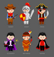 cowboy knight pirate red indian vampire vector image