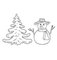 cute cartoon coloring snowman and fir tree vector image vector image