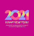 cute greeting card happy new year 2021 alphabet vector image vector image