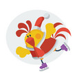 cute rooster on skates cartoon flat icon vector image vector image