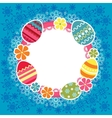 Easter frame with eggs and flowers vector image vector image