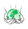ecology concept earth day world globe in hands vector image vector image