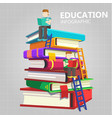 education infographic young man sit on big book ba vector image