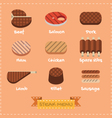Flat design of steak menu vector image
