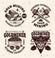 gold mining industry vintage emblems vector image vector image