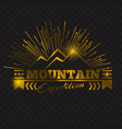 golden peak mountain emblem design gold mountain vector image