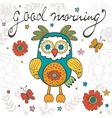 Good morning concept card with cute owl character vector image vector image