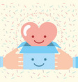 hands holding box with love heart charity donation vector image