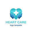 heart care logo - hands hold shape vector image vector image