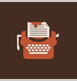 isolated typewriter icon flat for writers vector image vector image