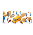 isometric set service delivery icons vector image vector image