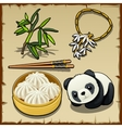 Japanese theme set of food animal and jewellery vector image vector image
