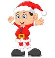 kid waving wearing santa costume vector image